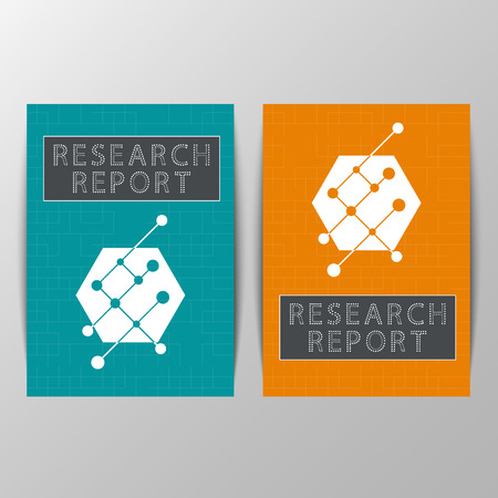 it technology: Set of brochures with big circle, lines and dot. Simple line flat design of time management. Cover science, technology. Abstract  for medicine, biotechnology, computers, IT, web. Modern vector Illustration