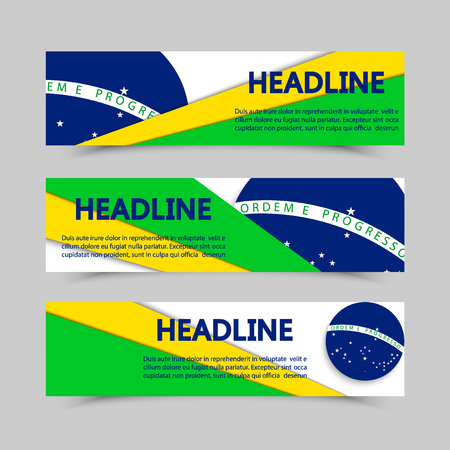 participate: Set of banners in Brazil flag concept. Isolated vector with lines in different colors. Illustration