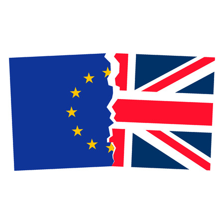 imminent: Brexit. Separated Flags of European Union and United Kingdom. Divided banner with the Union Jack and european symbol, sign of imminent exit of England out of EU. Great Britain national referendum