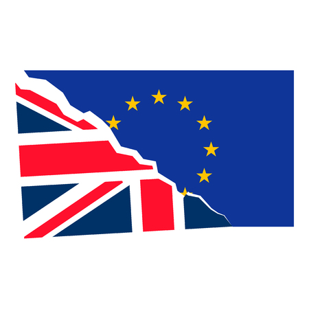 separatism: Brexit. Separated Flags of European Union and United Kingdom. Divided banner with the Union Jack and european symbol, sign of imminent exit of England out of EU. Great Britain national referendum