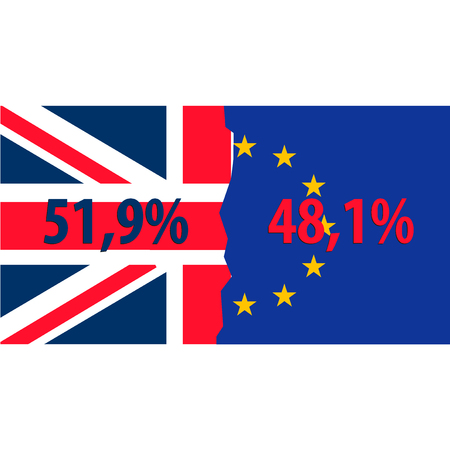 Brexit. Separated Flags of European Union and United Kingdom. Divided banner with the Union Jack and european symbol, sign of imminent exit of England out of EU. Great Britain national referendum