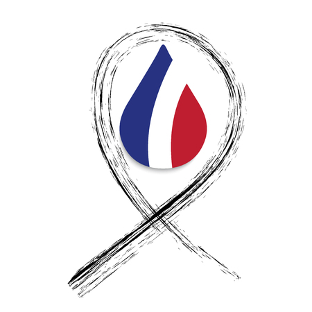 rampage: Black ribbon. Pray for Nice. World support for Nice. Nice terror attack on 14 July 2016. Pray for France. Victims of terror. Vector illustration.