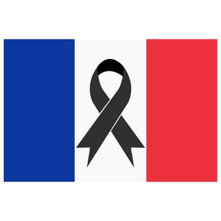 terror: Black ribbon. Pray for Nice. World support for Nice. Nice terror attack on 14 July 2016. Pray for France. Victims of terror. Vector illustration.