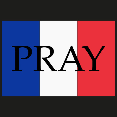 terror: France national flag. Phrase Pray written on flag. Pray for Nice. World support for Nice. Nice terror attack on 14 July 2016. Pray for France. Victims of terror. Vector illustration.