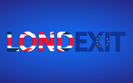 stays: Londexit. Text of London on the British flag, Exit on the flag of Euro Union. Brexit concept. Vote for united kingdom exit. London against exit. London stays in EU. Fall of UK. Vector Illustration