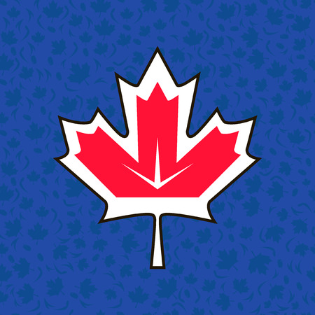Maple leaf symbol on abstract background of World Cup of Ice Hockey 2016. International hockey hampionship. National Hockey League Players Association. Air Canada Centre in Toronto. Play. Vector