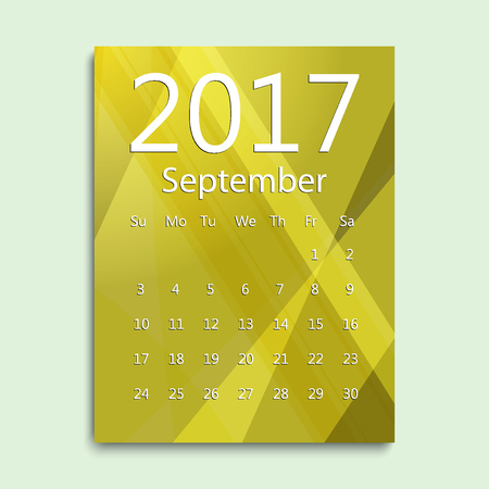 September month. Calendar for 2017 abstract colorful background. Week starts from Sunday. English planning calendar. Planning calendar for September 2017. Vector illustration in flat style. Illustration