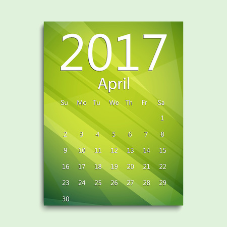 April month. Calendar for 2017 abstract colorful background. Week starts from Sunday. English planning calendar. Planning calendar for April 2017. Vector illustration in flat style. Illustration