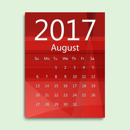August month. Calendar for 2017 abstract colorful background. Week starts from Sunday. English planning calendar. Planning calendar for August 2017. Vector illustration in flat style.