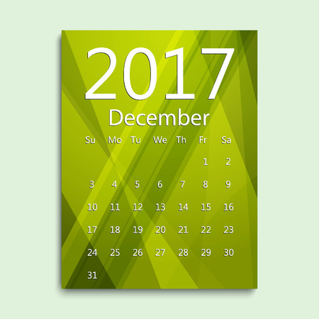 December month. Calendar for 2017 abstract colorful background. Week starts from Sunday. English planning calendar. Planning calendar for December 2017. Vector illustration in flat style.