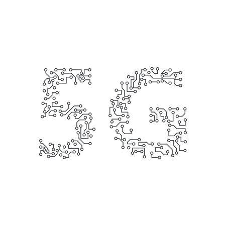 5G icon, smartphones mobile communications Ilustración de vector