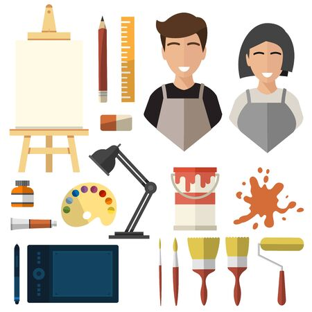 artist, isolated icons on white background. brush, paint, easel, tablet, lamp, watercolor, gouache, pencil, ruler