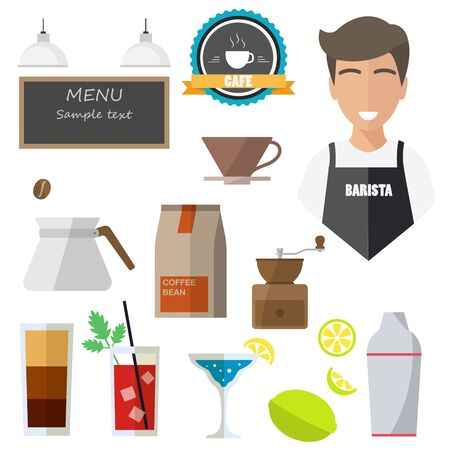 bartender, isolated icons on white background. cafe, coffee grinder, cocktail, lemon, menu, cup, tag Vectores