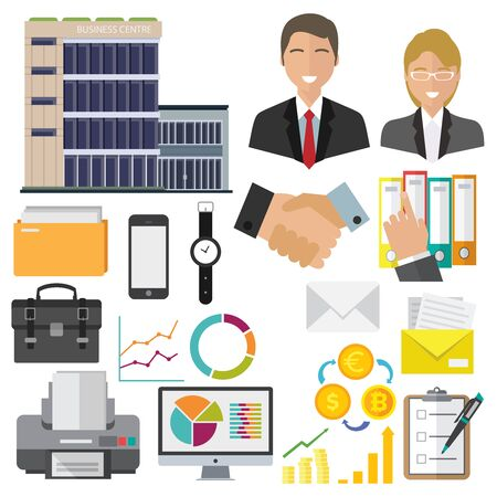 Business icons isolated set. Businessman and businesswoman, office building and folder with documents, computer with charts and graphs. Printer and briefcase sign, handshake and pen doing marks vector Vectores