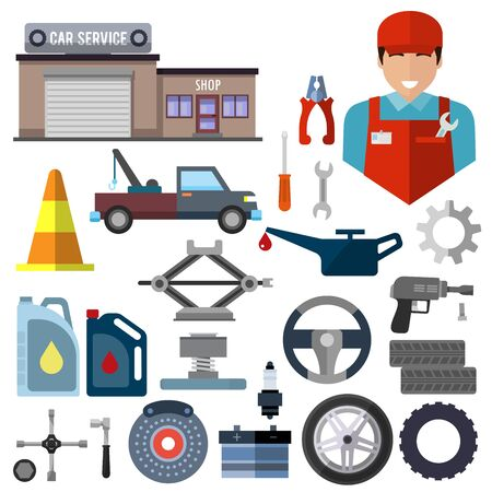 Car repair service icons set. Garage building, evacuator and jack-screw, canister with gasoline, driving stop, tyre and wheels, oil and fixing gear, batterie and pliers, auto mechanic, screw vector Vectores