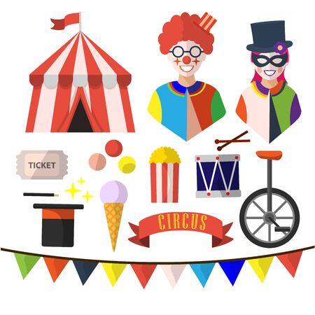 circus, isolated icons on white background. clowns, drum, ice cream, ticket, tent, flags, bicycle