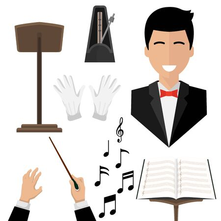 conductor , isolated icons on white background. notes, treble clef, wand Vectores