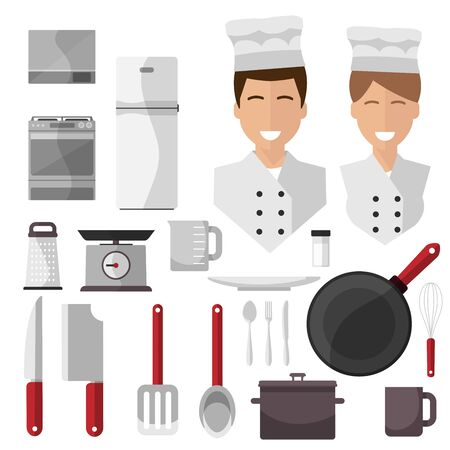 cook , isolated icons on white background. Scales, colander, scoop, saucepan, bowl, stove, oven, plate, cup, salt, pestle, fridge