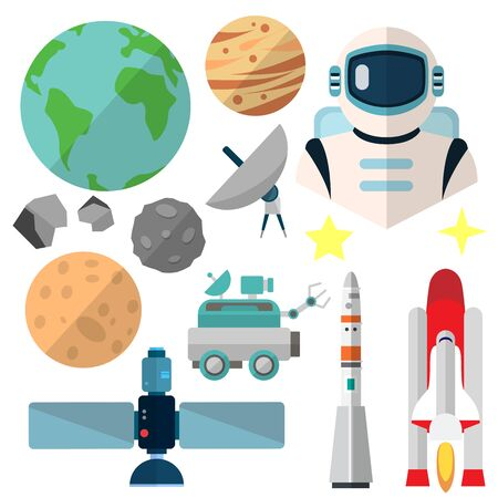 Astronautics, isolated icons on white background. Mars rover, space shuttle, rocket, space, satellite, spacesuit, stars, moon, planets, Vectores