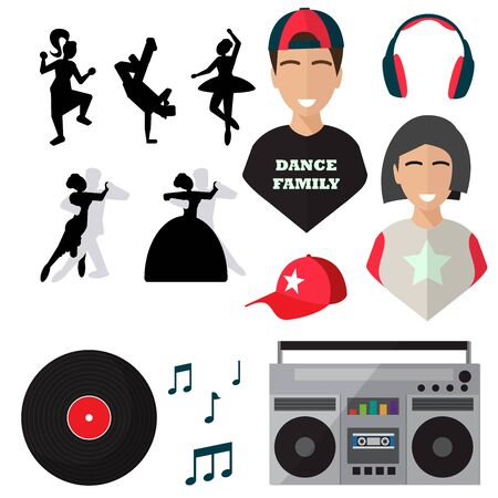 dancers, isolated icons on white background. dance, cap, sheet music, record, tape recorder, headphones