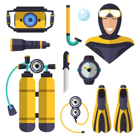 Diving, isolated icons on white background. oxygen, mask, flashlight, fins, tube, watch, underwater camera, knife, oxygen cylinders