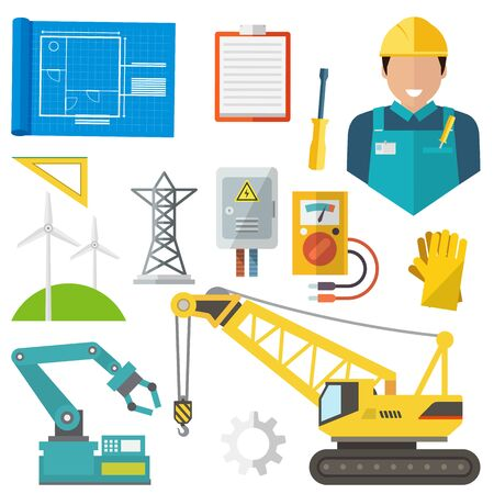 Engineering construction isolated icons set. Engineer worker, gloves, triangular ruler, windmills, bulldozer tractor and loader, voltage measuring device and derrick, notebook and gear, plan vector