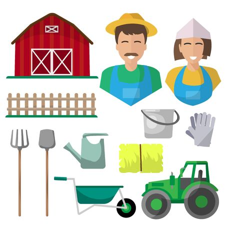 Farm, isolated icons on white background. hay, tractor, bucket, fence, farmer, pitchfork, shovel, watering can Vectores