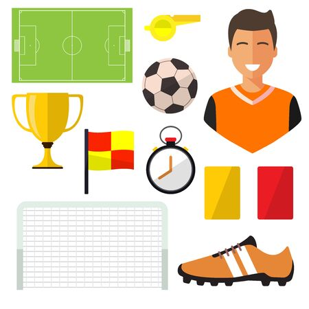 Set of icons, football player on white background. Vector illustration