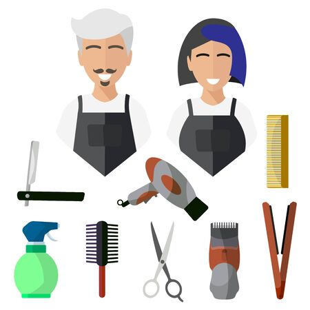 Hairdresser, isolated icons on white background. Razor, scissors, machine, hair dryer, comb