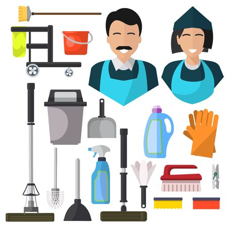 Cleaning, isolated icons on white background. mop,  gloves, washcloth, bucket, scoop, garbage, brush