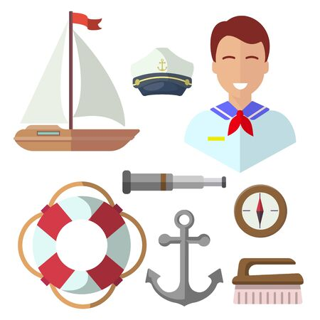 sailor, isolated icons on white background. Yacht, compass, telescope, anchor, lifebuoy