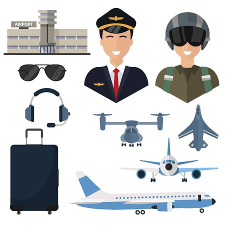 Pilot, set of icons isolated on a white background, plane, glasses, headphones, luggage airport