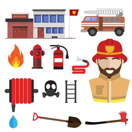Firefighting icons set vector. Fireghfighter and extinguishing tools. Spade and extinguisher, axe and hydrant hose, protective mask, hammer, ladder, fire station building. Fireman profession symbols Vectores