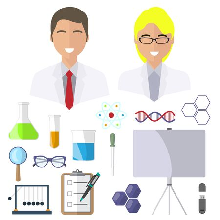 Scientists, isolated icons on white background. Glasses, magnifier, dna, test tubes, diary, pipette, molecule, flash drive