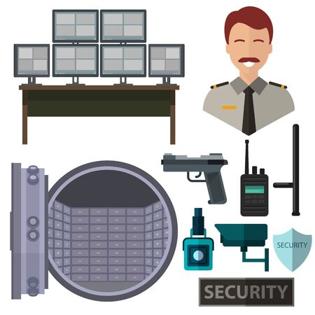 Security, isolated icons on white background, gun, baton, camera, safe, walkie-talkie.