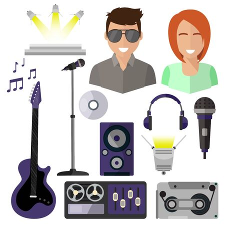 Pop singers, isolated icons on white background, microphone, stage, tape recorder, sheet music, guitar, headphones, spotlight