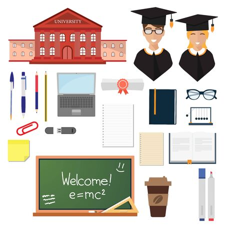 Back to school set of icons isolated vector. University building, Teacher professor, pen pencil, notebook and textbook, blackboard, glasses, coffee cup, scroll and marker, eraser ruler, list of paper