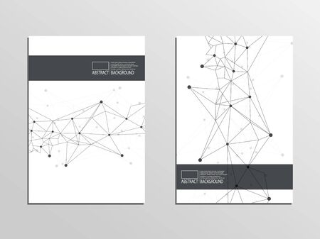 Cover lines, points, connections. Vector graphics, movement Vectores