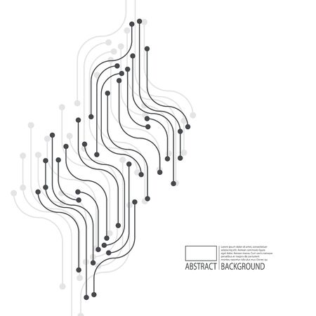 Vector technology conceptual poster with multiple lines isolated on white background. DNA change connections, gene symbols backdrop, deoxyribonucleic acid thread-like chain vector illustration