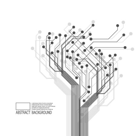 The concept of digital tree, neural network, artificial intelligence.