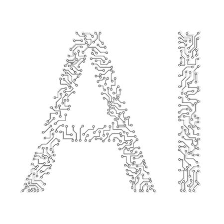 Capital letters AI Collected from communication lines. Motherboard. Artificial Intelligence. Vectores