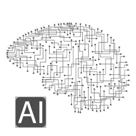 Brain artificial intelligence line, great design for any purposes. Information technology. Abstract background. Science vector illustration. Business technology.