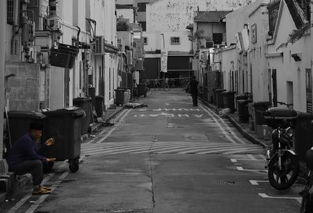 livelihoods: Street scene in black and white Editorial