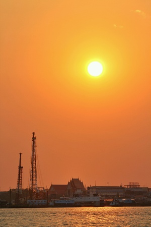 industrial: Sunset at Chaopraya river