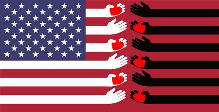 Flag of the united states Black and white stripes with hands sending hearts to each other / black lives matter Ilustração Vetorial