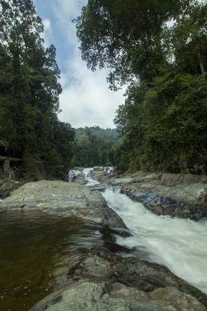 scenic atmosphere in the waterfall area of Lata Renyuk, Jeli, Kelantan, Malaysia