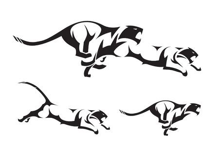 silueta tigre: Tigre negro tribales aislados en blanco.