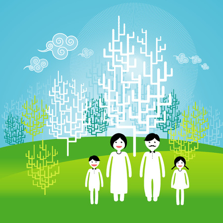 Silhouettes on spring background. Editable vector available.