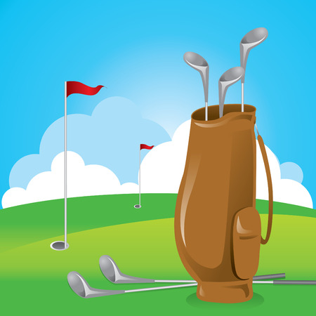 Golf bag with several clubs locate still on the ground.