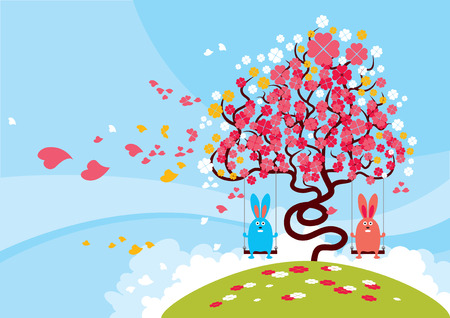 Rabbits playing during the lovely blossom of the spring. Stock Vector - 3397043